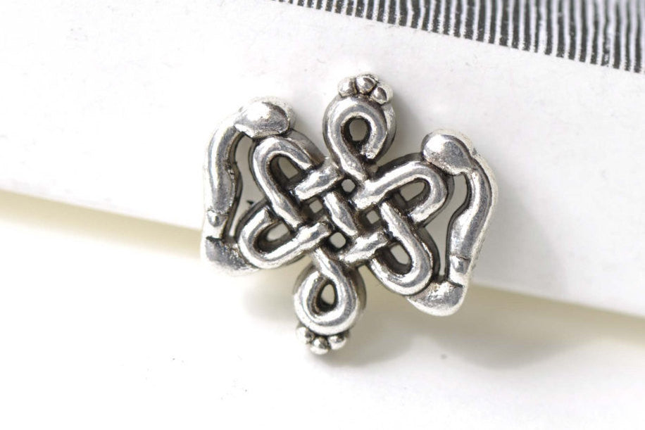 Chinese Knot Beads Antique Silver Finish 18x20mm Set of 10 A8309
