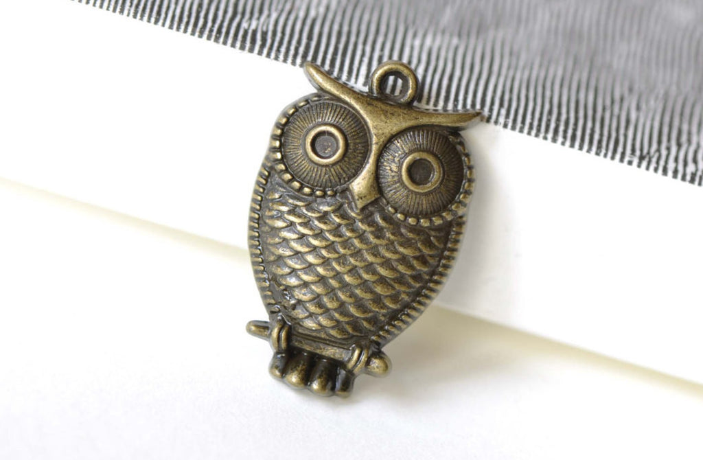Owl Charms Antique Bronze Pendants 18x28mm Set of 10 A8322