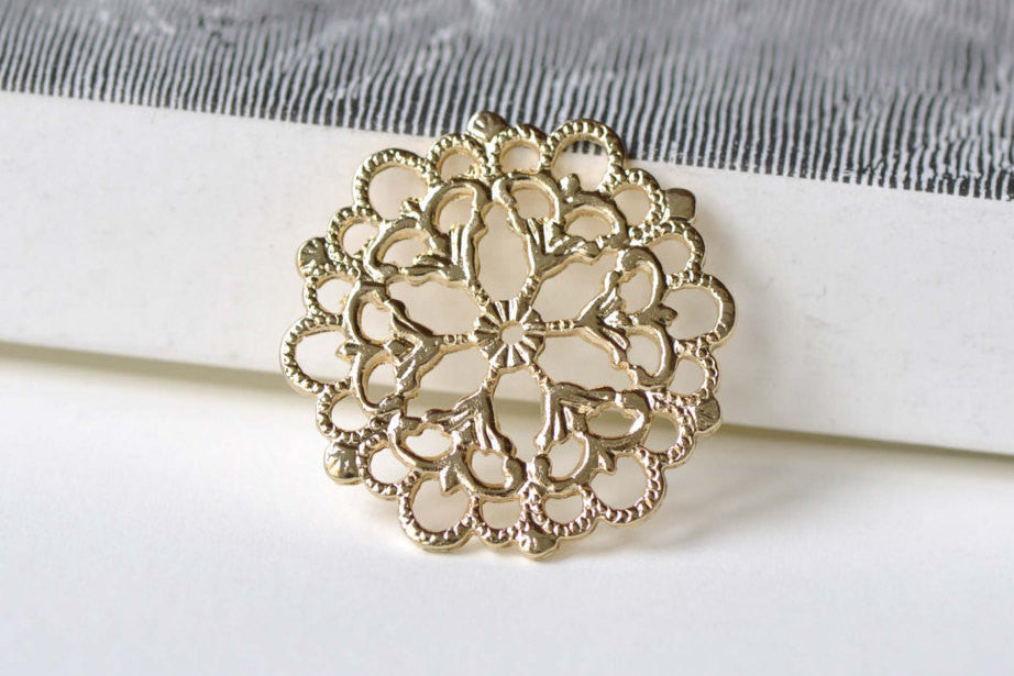 10 pcs Gold Flower Snowflake Connector Charm Embellishment A8342