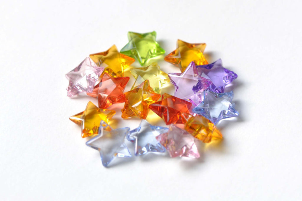 Faceted Acrylic Star Beads Mixed Color 15mm Set of 30 A8343