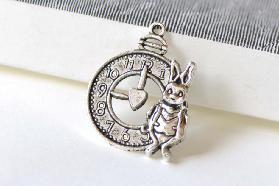 Antique Silver Rabbit Clock Charms 25x31mm Set of 10 A8326