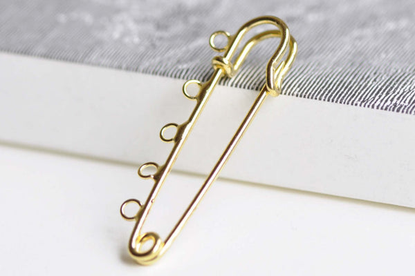 Gold Kilt Pins Five Loops Safety Pin Broochs Set of 10  A8344