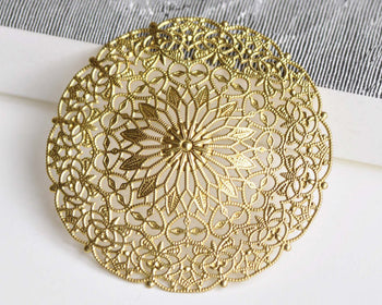 Raw Brass Filigree Large Flower Hat Embellishments Set of 5 A8349