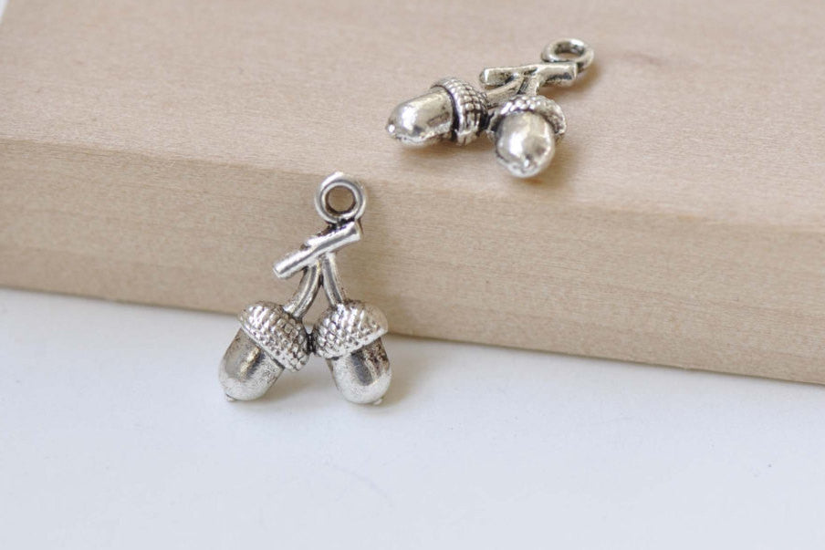 Antique Silver Small Double Pinecones Acorns Charms Set of 20 A8427