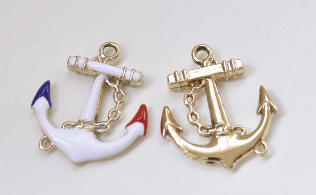 Half White Enamel Gold Anchor Connector Charms Set of 5 A8435