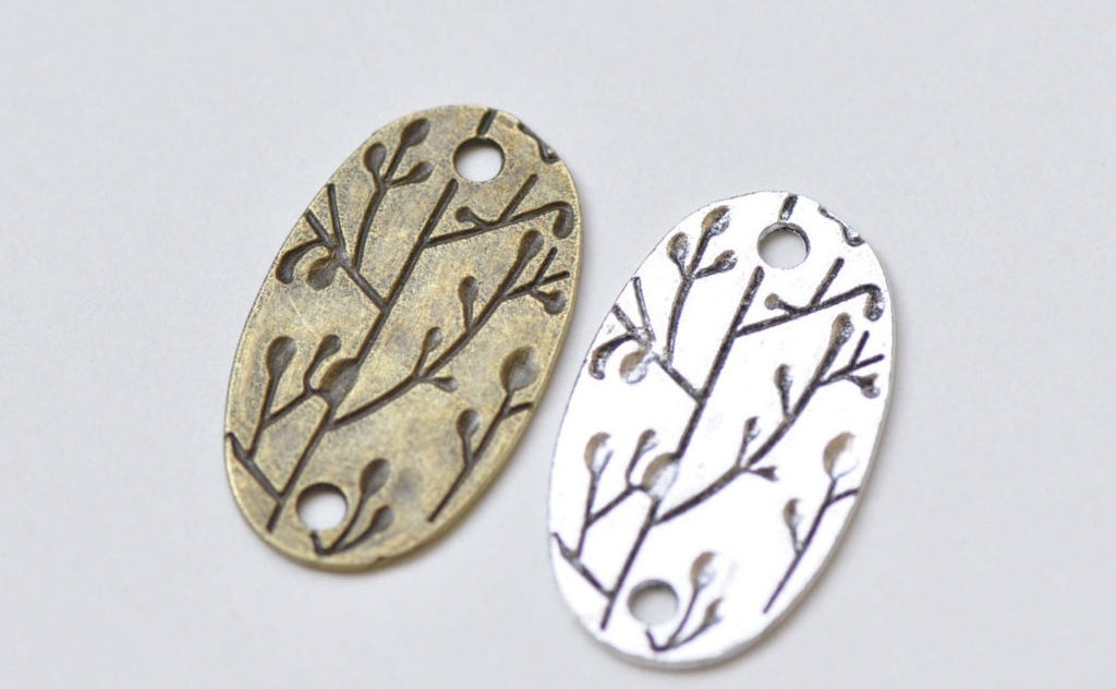 Oval Tree Branch Connector Antique Bronze Silver Charms Set of 10
