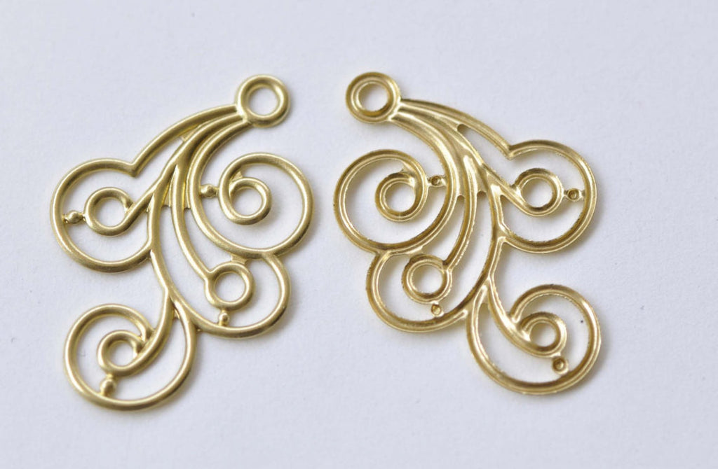 Raw Brass Filigree Floral Embellishments Stamping Set of 20 A8532
