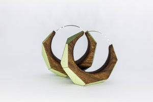 wooden hoop earrings in 2 sizes with green detail