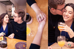 multiple images of couple having breakfast