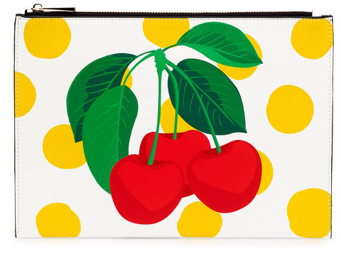 Cherry Placement Print Clutch Bag