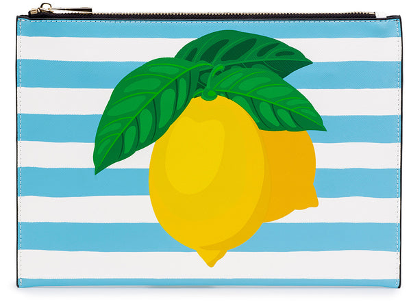 Lemon Placement Print Clutch Bag