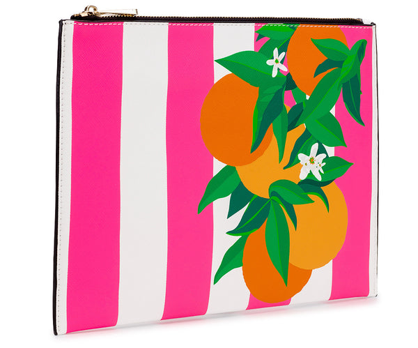 Orange Placement Print Clutch Bag