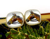 Vintage Swank ESSEX GLASS CUFFLINKS Gold Tone Horse Head Reverse Painted Glass Cufflinks