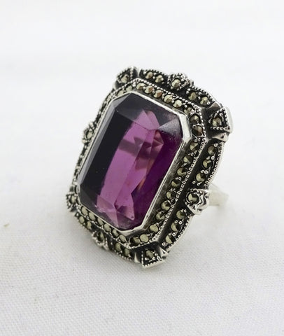 Art Deco STERLING MARCASITE RING Sterling Silver Purple Glass Stone Fancy Statement Ring Sz 5.75