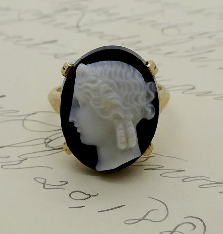 Vintage Art Deco Era 10k Gold Sardonyx Hard Stone Cameo Ring Sz 6.5