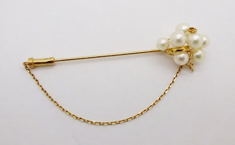 Estate 18K GOLD PEARL STICK PIN Grape Cluster Cultured Pearl Stick Pin Brooch