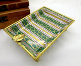 Camille Le Tallec France Hand Painted Limoges Porcelain Gilt Brass Framed Footed Ashtray