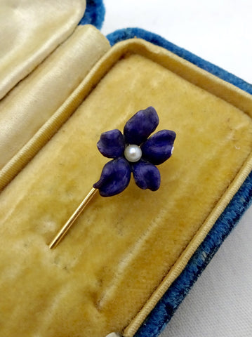 Antique 14K GOLD ENAMEL STICK PIN Purple Enamel Violet & Pearl Victorian Stick Pin