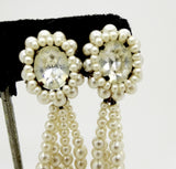 Louis Rousselet France Rhinestone Faux Pearl Dangle Earrings