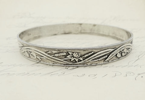 Boho Jewel Art Sterling Silver Bangle Bracelet Lily Pad Lotus Flowers Cattails & Marsh Grasses