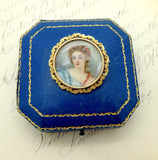 Antique 18K GOLD PORTRAIT Pendant Pin Victorian Hand Painted Madame de Pompadour Pendant Pin Brooch