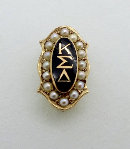 Antique 10K Gold KAPPA SIGMA EPSILON Fraternity Pin Enamel & Seed Pearls