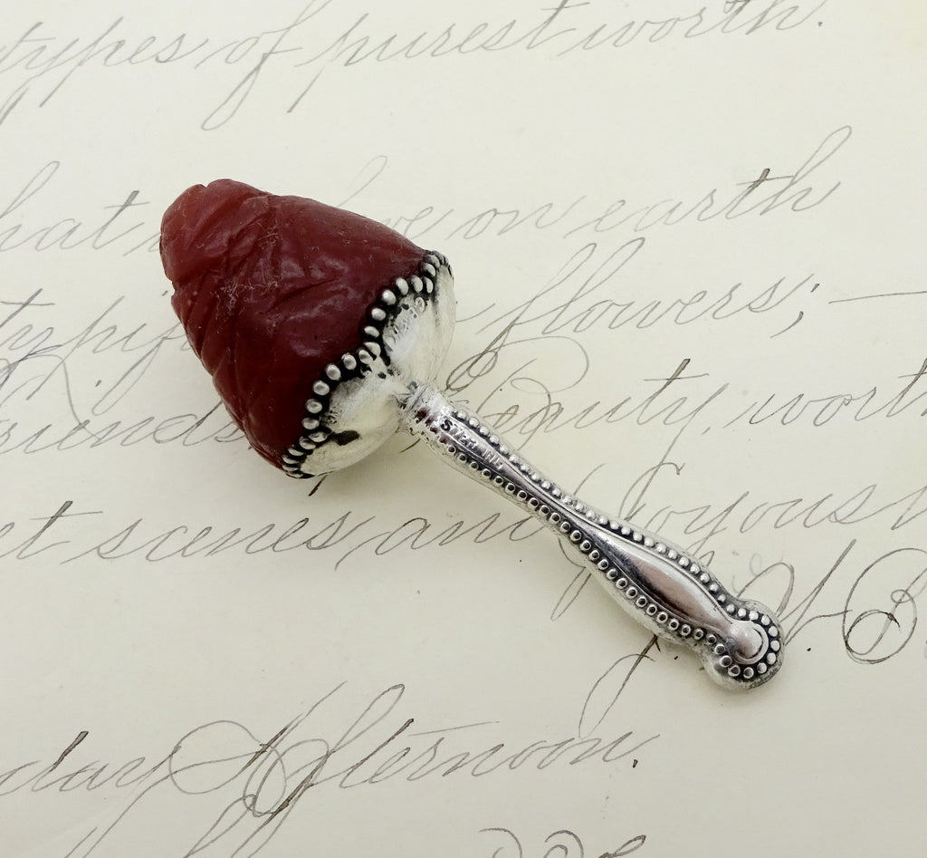 Antique SEWING WAX TOOL Sterling Silver Strawberry Emboridery Needle Wax Tool