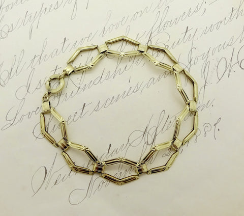 Art Deco 14K Gold Flexible Link Bracelet L. Fritschze & Co.
