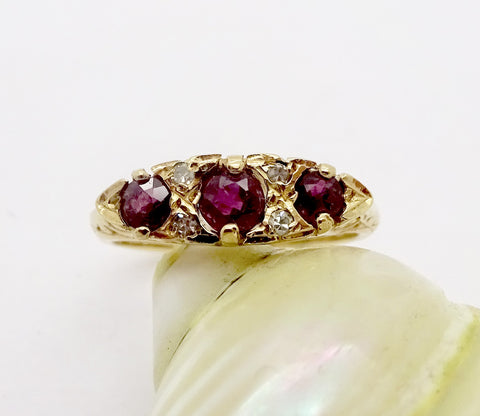Victorian 9k Gold Triple Ruby & Diamond Ring Sz 4.25 Circa 1896