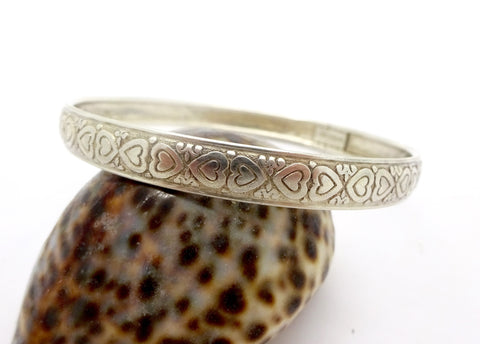 Vintage STERLING BANGLE BRACELT Sterling Silver Hearts Pattern Boho Hippie Bangle Bracelet