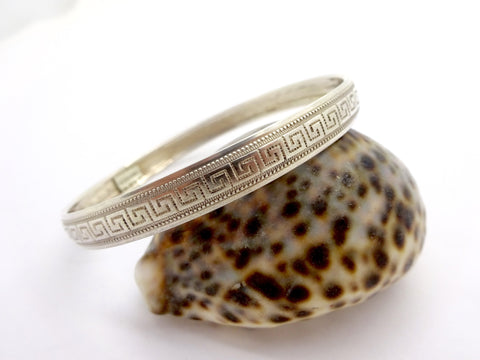 Vintage STERLING SILVER BANGLE BRACELET Meander Pattern Boho Hippie Bangle