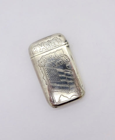 "ANTIQUE SILVER MATCH SAFE PAIR POINT Vesta Case ""A Flag for the World"" American Flag Patriotic Theme"