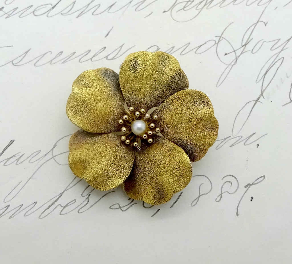Antique 14K Gold Cultured Pearl Art Nouveau Poppy Pin Bloom Gold Finish