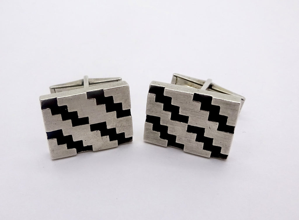 Modernist Rotter Sterling Silver Abstract Geometric Cuff Links Mid Century Modern