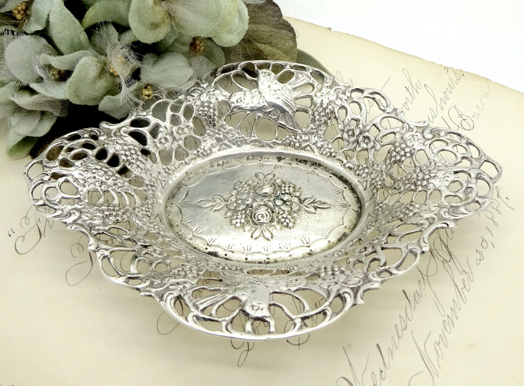 ANTIQUE ART NOUVEAU STERLING SILVER BON BON DISH BOWL FLOWERS & BIRDS