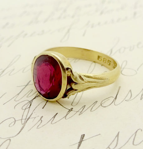 Antique European 14k Gold 2 Carat Ruby Ring Sz 7.25