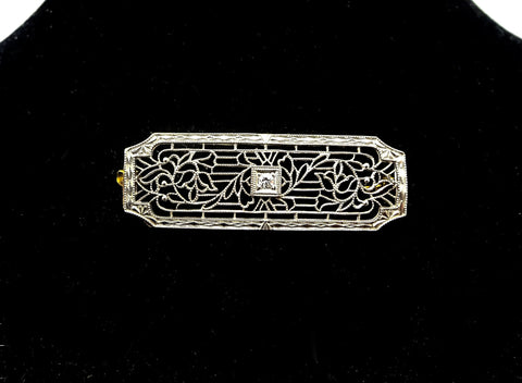 Art Deco Krementz 14K White Gold Diamond Lacy Filigree Shawl Bar Pin Brooch