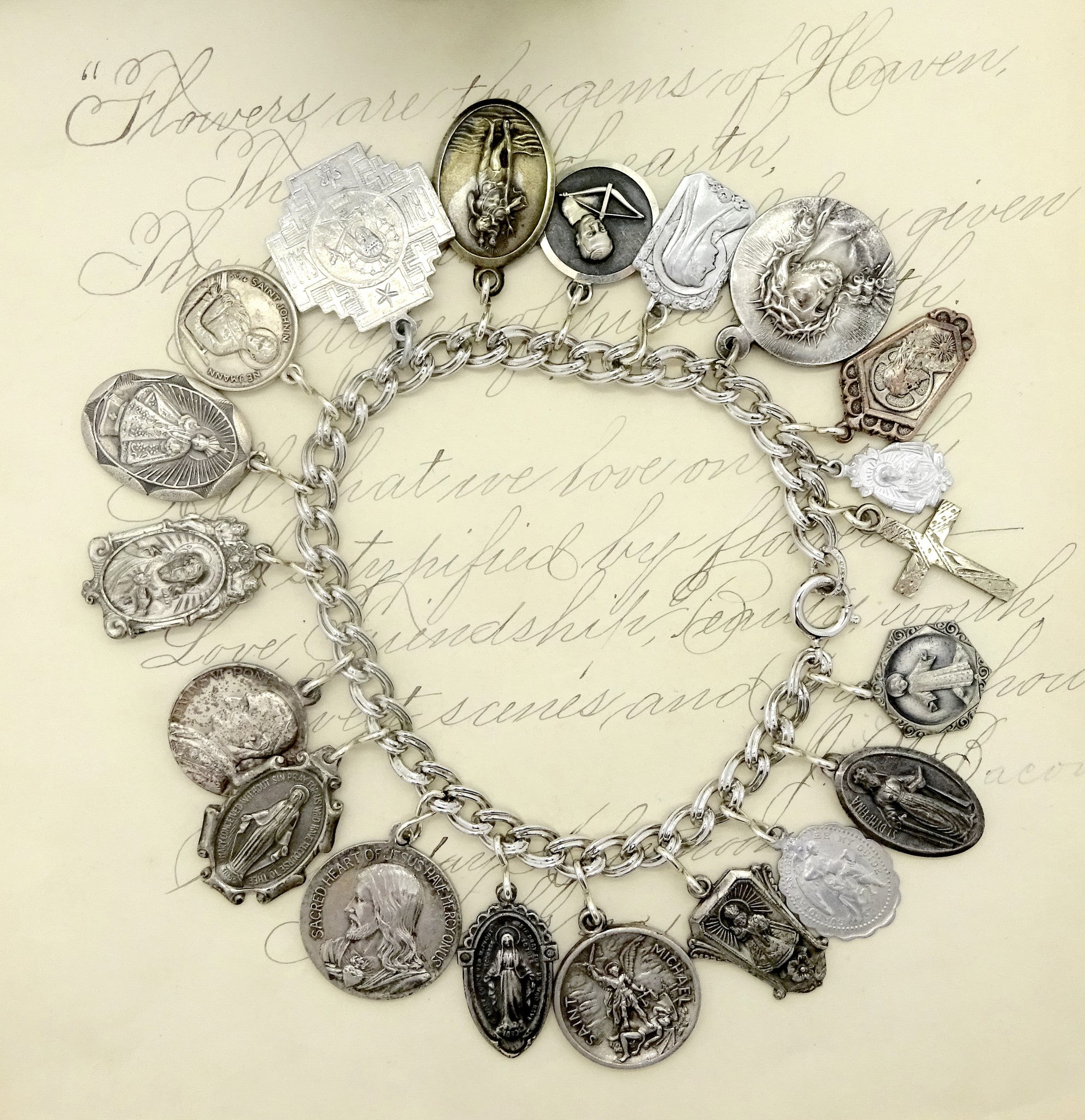 vintage bangles products sterling catholic silver michael medals neumann st charm christopher bangle bracelet