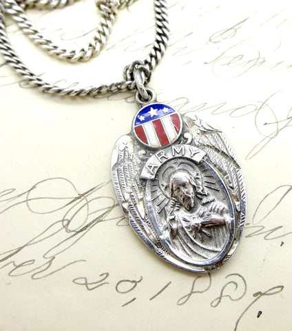 WWII Sterling Silver US Army Enamel Miraculous Medal Dog Tag Necklace
