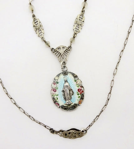 Miraculous Medal Necklace Sterling Silver Enamel Marcasite Art Deco Era Necklace