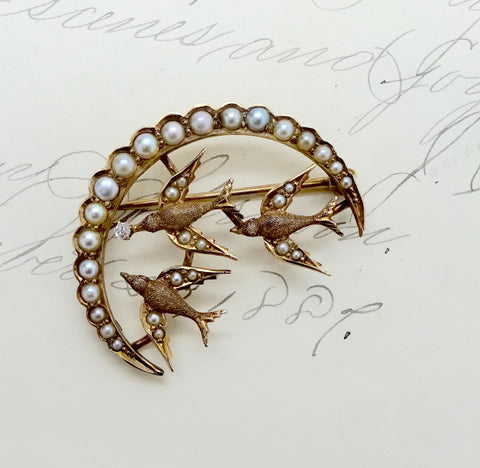 Antique 14K GOLD SEED PEARL DIAMOND PIN Pendant Crescent Birds in Flight