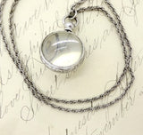 Sterling Silver Pools of Light Glass Orb Locket Pendant Necklace