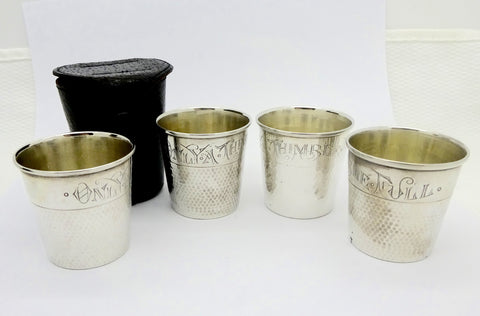 Antique Webster Sterling Silver Thimble Shot Glasses Set of 4 in Case