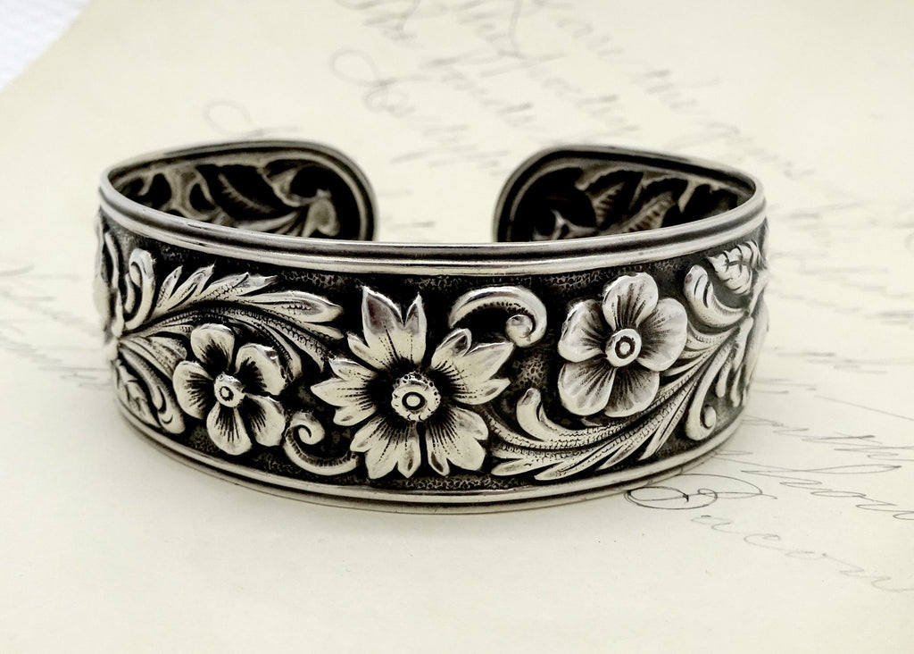 S. KIRK & SON STERLING SILVER FLORAL ROSE REPOUSSE CUFF BRACELET