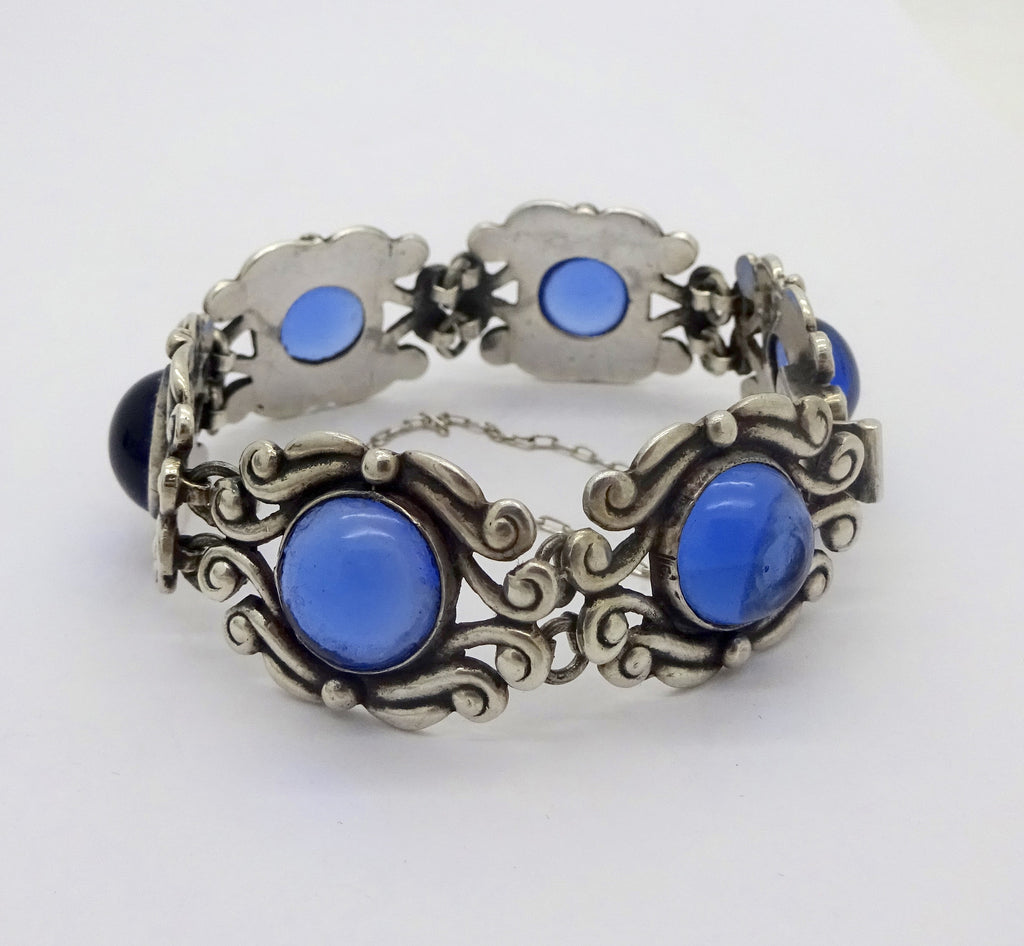LOS CASTILLO STERLING SILVER BRACELET Sapphire Blue Glass Cabochons #388 Taxco Mexico