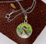 Victorian 800 Silver Painted Enamel Pendant Necklace Bohemian Gypsy Maiden