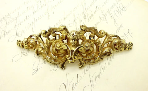 Antique Willam B. Kerr Gilt Sterling Silver Cherub Putti Sash Buckle #355