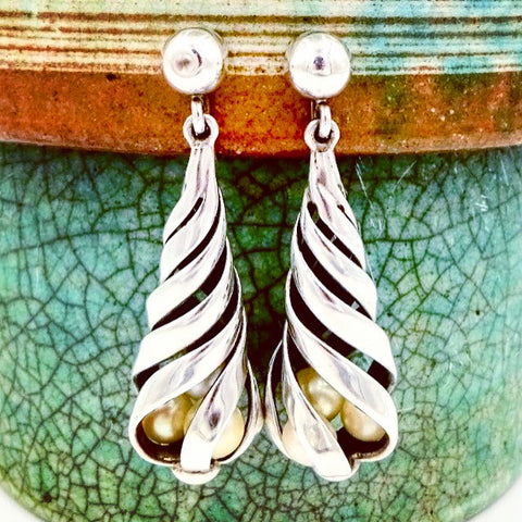 Antonio Pineda Taxco Mexico Sterling Silver Modernist Dangle Pearl Earrings
