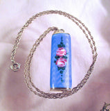Antique STERLING ENAMEL PENDANT Necklace Sterling Silver Pink Cabbage Roses Lipstick Compact Holder