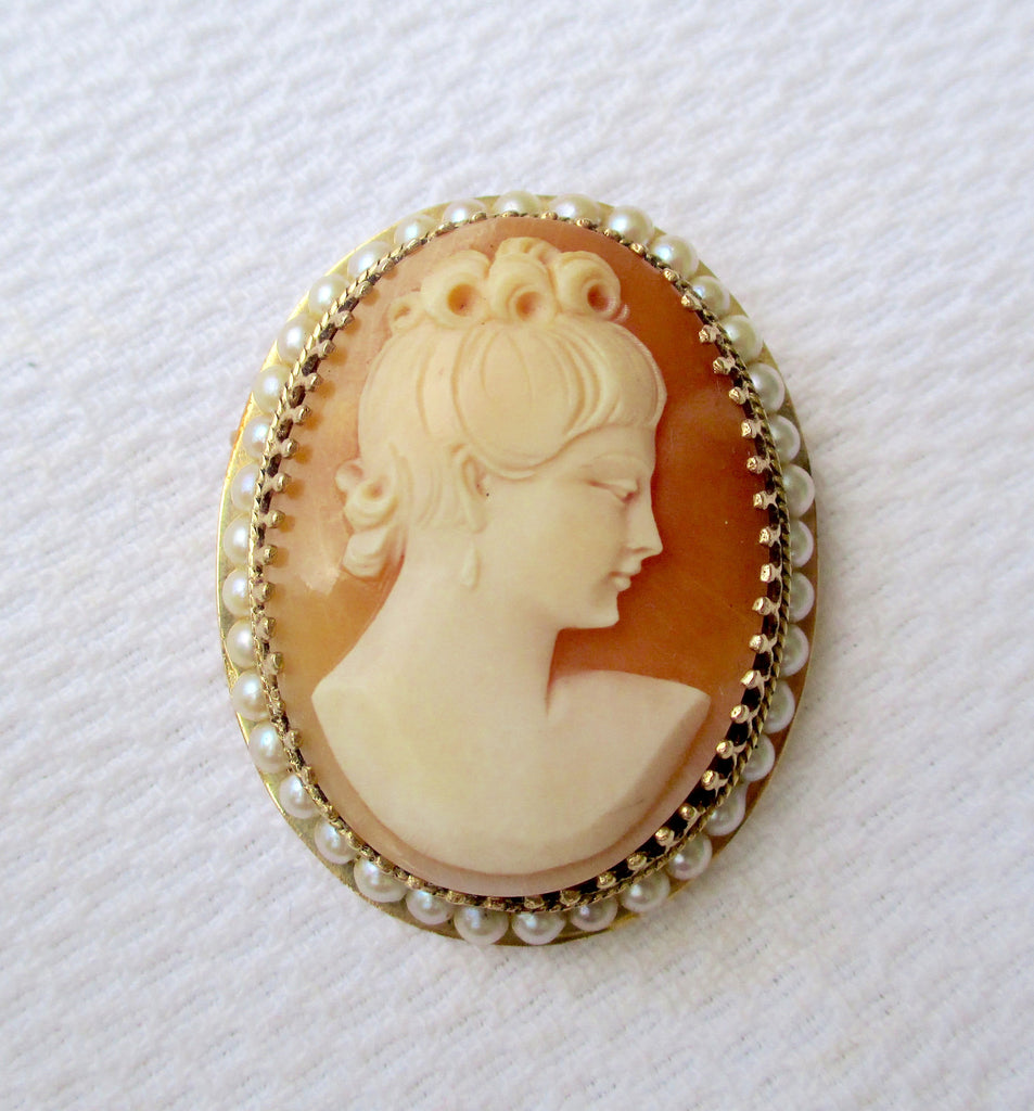 Victorian Style 14K Gold Pearl Framed Carved Shell Cameo Pendant Pin Brooch